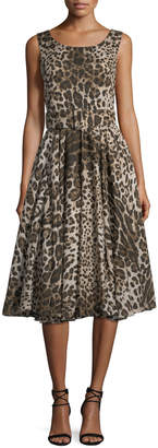 Samantha Sung Aster Sleeveless Fit-and-Flare Leopard-Print Dress