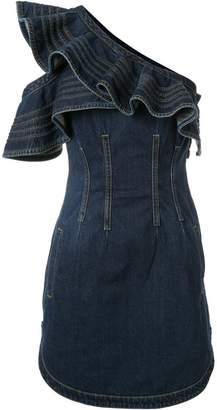 Self-Portrait denim one shoulder mini dress