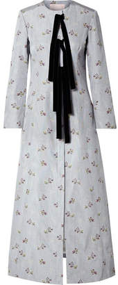 Brock Collection Courtney Velvet-trimmed Floral-print Cotton-blend Coat - Multi