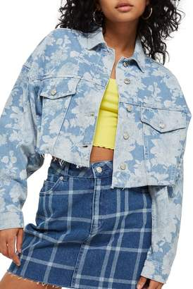 Topshop Moto Floral Two-Tone Denim Jacket