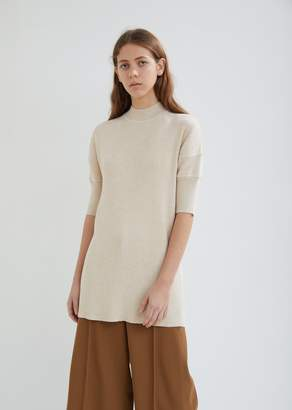 Jil Sander Jersey Wool High Neck Ribbed Sweater