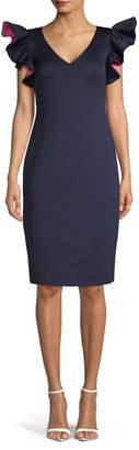 Eliza J Short-Ruffle Sleeve Dress