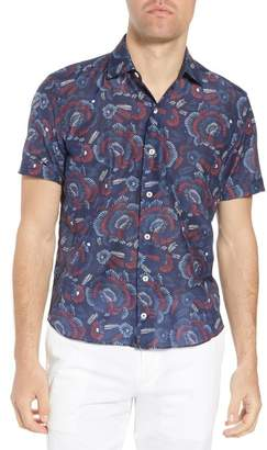 Culturata Trim Fit Print Cotton & Silk Sport Shirt
