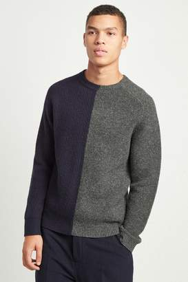 French Connenction Multi Textured Lambs Wool Jumper