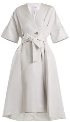 Osman Fleur tie-waist cotton-blend coat