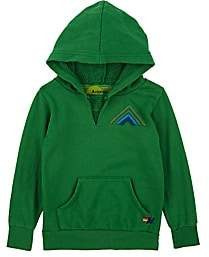 Aviator Nation Kids' Mountain-Striped Cotton-Blend Fleece Hoodie-Green