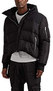 Taverniti So Ben Unravel Project Men's Oversized Down-Quilted Silk Hooded Puffer Jacket - Black