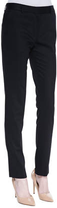 The Row Flat Front Fitted Pants, Black