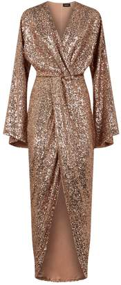 Rasario Twist Front Sequin-Embellished Gown