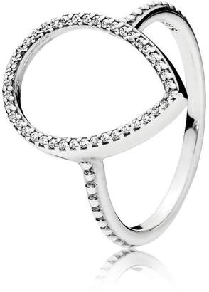 Pandora Unknown Ring 196253CZ-54 Silver Zirconia Silhouette of Teardrop