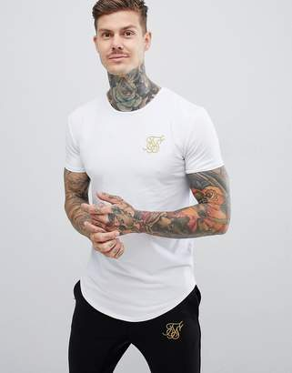 SikSilk t-shirt in white with gold logo