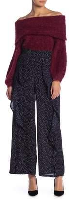 Blu Pepper Polka Dot Print Ruffle Wide Leg Pants