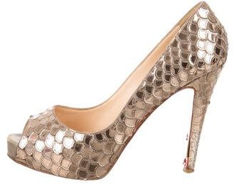 Christian Louboutin  Christian Louboutin Textured Peep-Toe Pumps