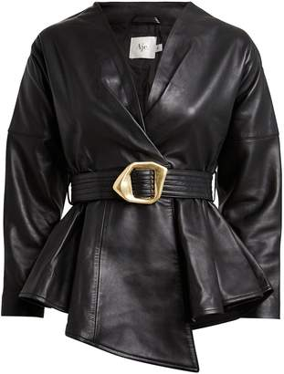 Aje Harlow Belted Leather Jacket