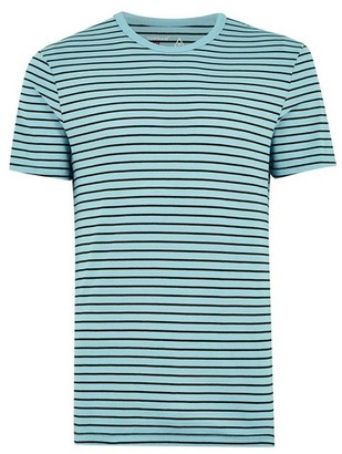 Topman Mens Aqua Blue Slim Stripe T-Shirt