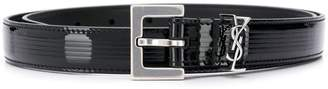 Saint Laurent square buckle monogram belt