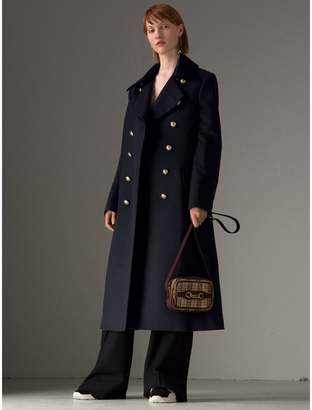 Burberry Doeskin Wool Military Coat , Size: 06, Blue