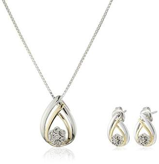Sterling Silver Diamond Miracle Plate Teardrop Pendant Necklace and Stud Earrings (1/10 cttw