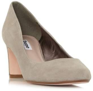 Dune Taupe Suede 'Addena' Mid Block Heel Court Shoes