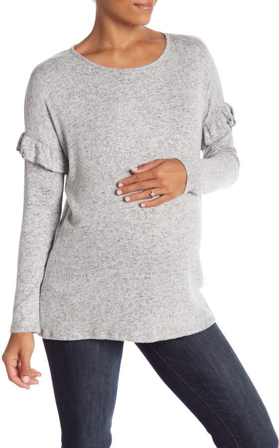 PinkBlush Maternity Heathered Ruffle Sleeve Soft Knit Top (Maternity)