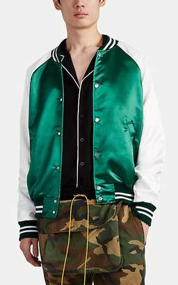 RHUDE Men's Logo Satin Varsity Jacket - Green