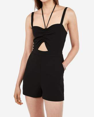 Express Cinched Cut-Out Halter Romper