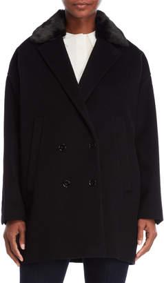 The Kooples Faux Fur Collar Wool Coat
