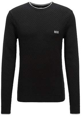 HUGO BOSS Sweater in a stretch-cotton blend with tipping stripes