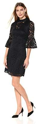 Lark & Ro Women's Mockneck Bell Sleeve Lace Dress