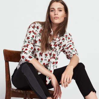 Sandro Silk top printed with roses