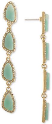 Rachel Roy Gold-Tone Pave & Blue Stone Linear Drop Earrings