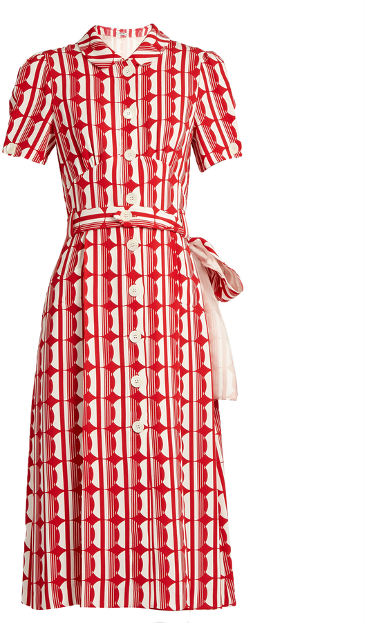 Miu Miu MIU MIU Large polka-dot print crepe shirtdress