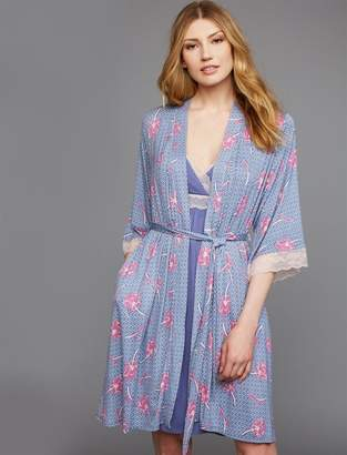 A Pea in the Pod Lace Trim Nursing Nightgown And Robe Set