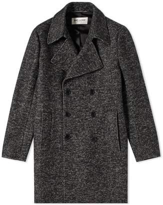 Saint Laurent Jacquard Double Breasted Pea Coat