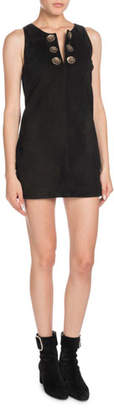 Saint Laurent Sleeveless A-Line Suede Mini Dress with Medallions