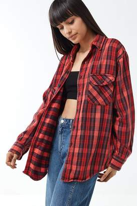 Urban Renewal Vintage Overdyed Button-Down Flannel Shirt