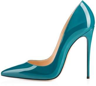 Eldof Women's High Heel Pumps Classic 4.72in Slip On Patent Pointed Toe Stilettos 12cm Wedding Party Dress Pumps US11