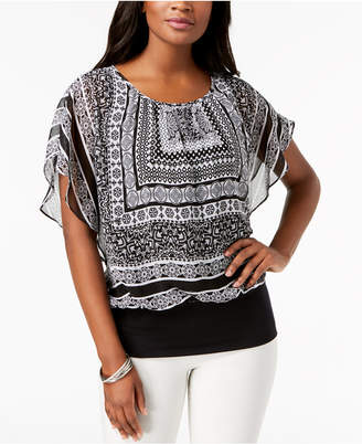 JM Collection Petite Printed Blouson Top, Created for Macy's