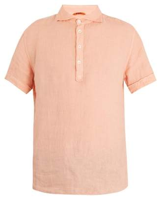 Barena Venezia - Point Collar Short Sleeved Linen Polo Shirt - Mens - Pink