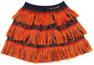 Cotton Poplin Blend Skirt W/ Fringes