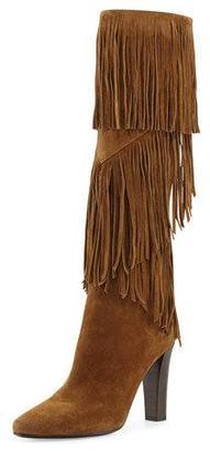 Saint Laurent Fringe Suede 95mm Knee Boot, Cigare $1,595 thestylecure.com