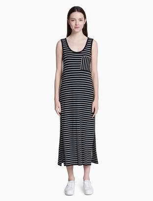 Calvin Klein striped pocket sleeveless maxi dress