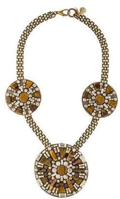 Ranjana Khan Tiger'e Eye Three Station Bib Necklace