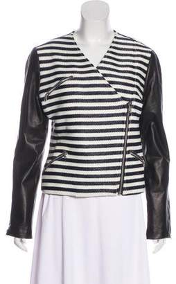 Jenni Kayne Leather-Accented Striped Jacket