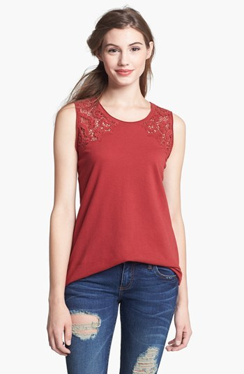 Caslon Crochet Shoulder French Terry Tank
