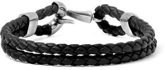 Bottega Veneta Intrecciato Leather And Burnished Silver-Tone Bracelet