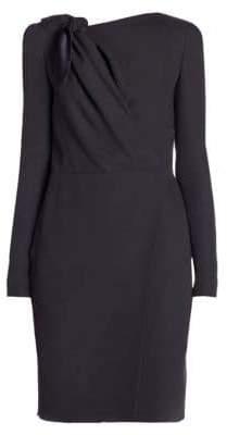 Giorgio Armani Long-Sleeve Cady Silk Tie Dress