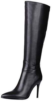 MERUMOTE Women's Genuine Leather Pointed Toe Zipper Stiletto Fashion Dress Party Knee High Boots 7.5 US