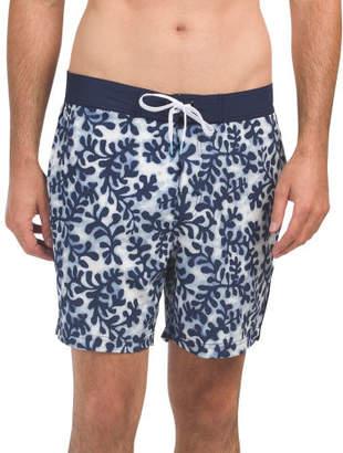 Seaweed Print Board Shorts