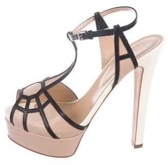 Sergio Rossi Leather Peep-Toe Sandals